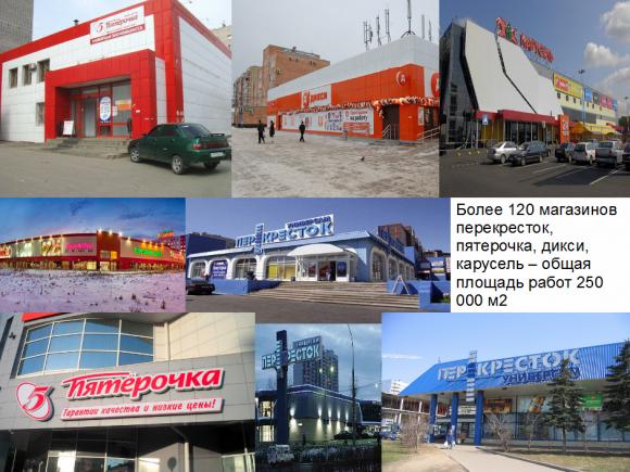 120 магазинов Объем выполненых работ: 250 000 м2